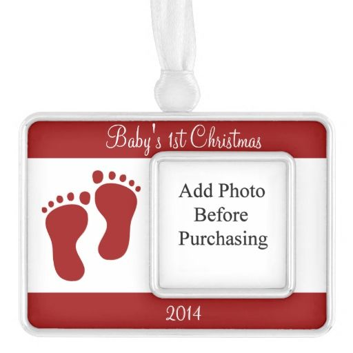 "Cherry Red Baby's 1st Silver Plated Framed Ornament .............This design features a baby footprint along with the text that reads, ""Baby's 1st Christmas on top and the year on the bottom. They can be customized with your own text. Add your baby's photo before purchasing. Check out my store for more color options and other products with these footprints."
