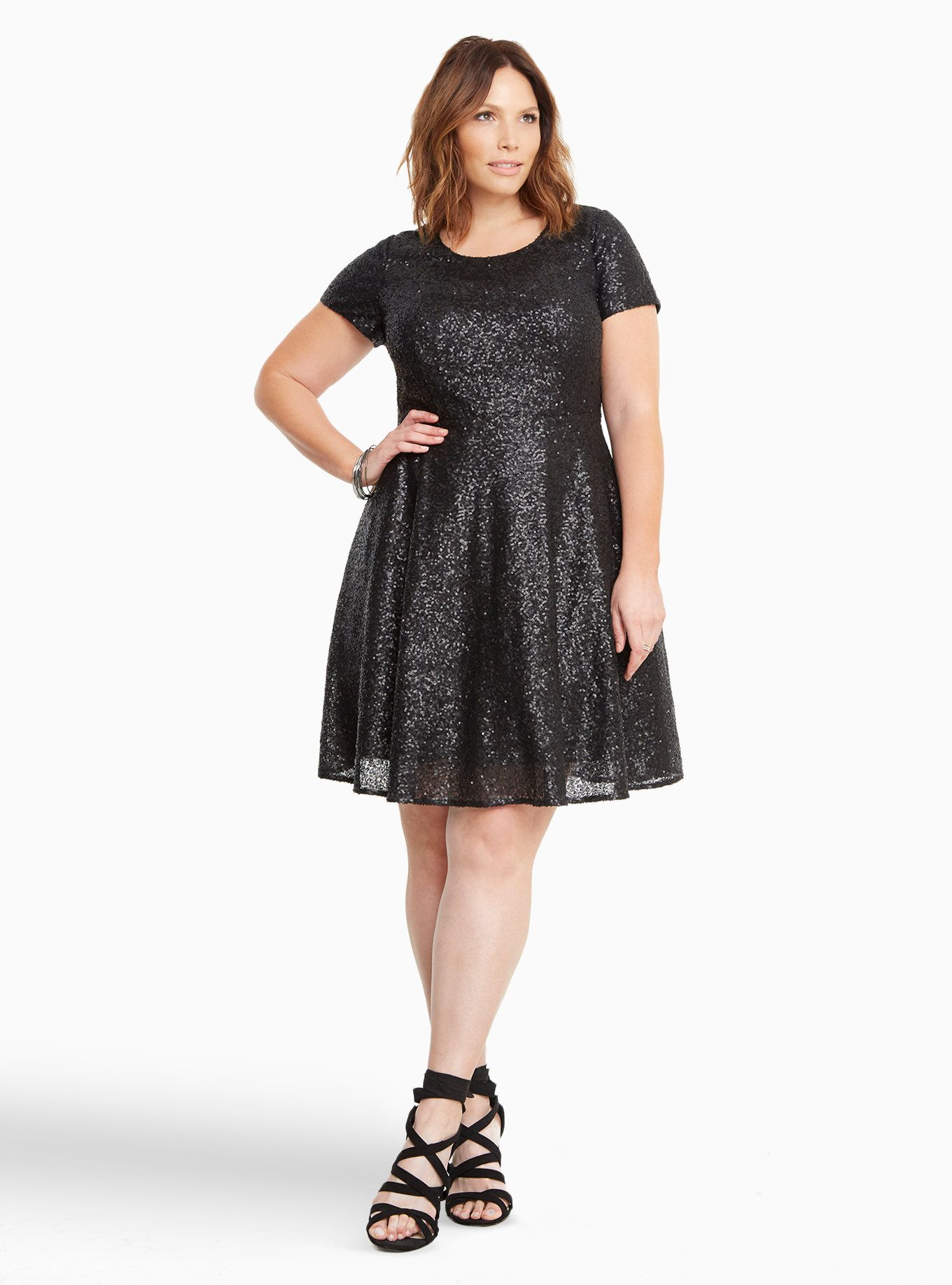 818d509b92c Torrid Sequin Open Back Skater Dress