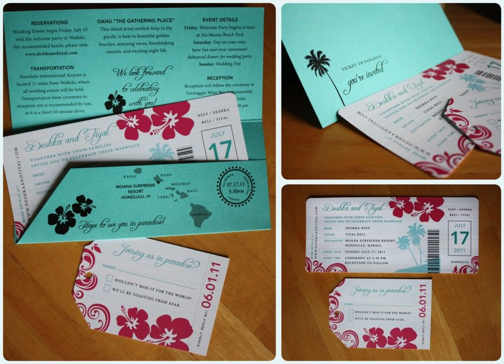 hawaiian Wedding Invitations and such Pinterest Turkoosi - plane ticket template