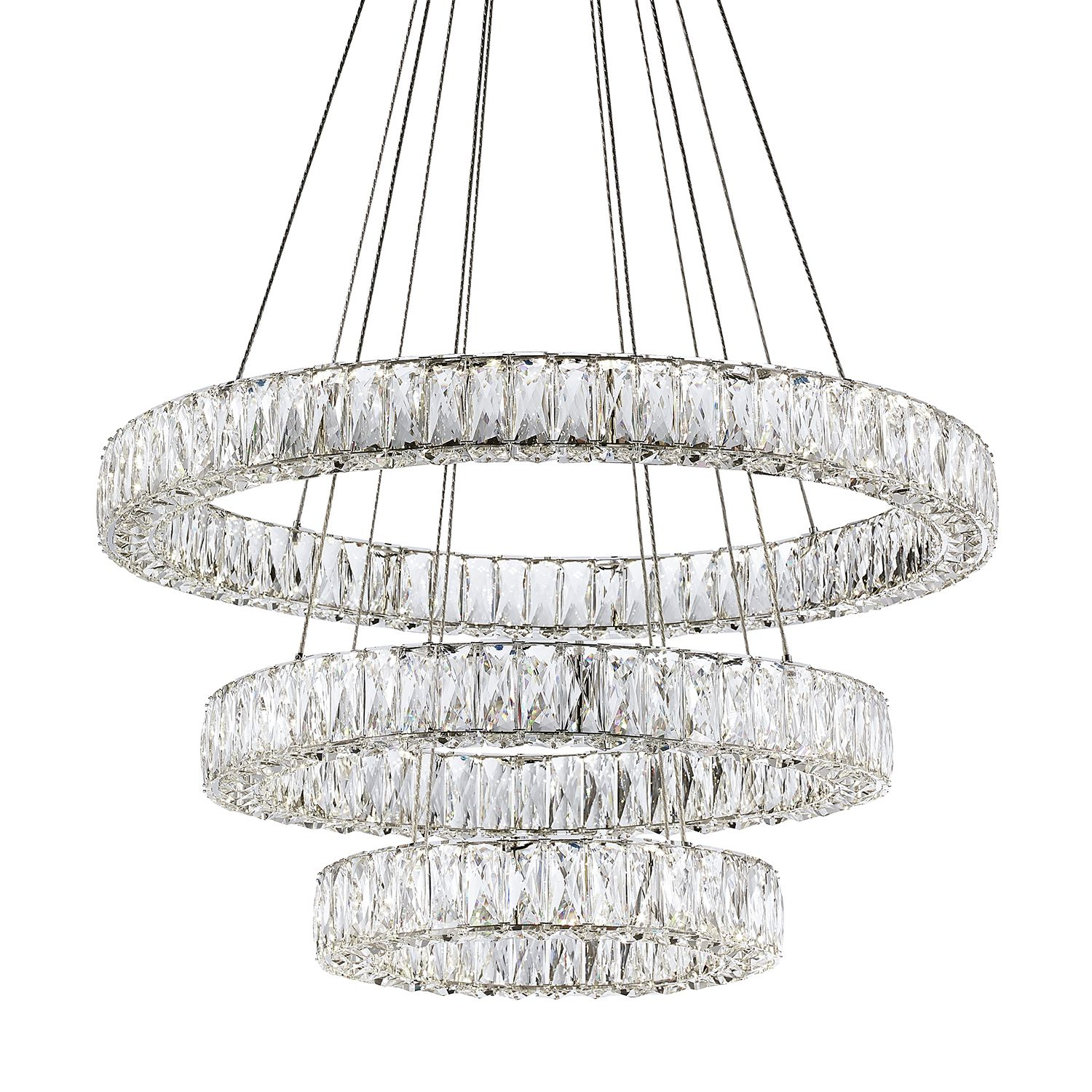 Solaris Three Ring Chandelier Features Three Rings In Different Sizes Which Can Be Styled In A Variet Led Chandelier Chrome Chandeliers Contemporary Chandelier