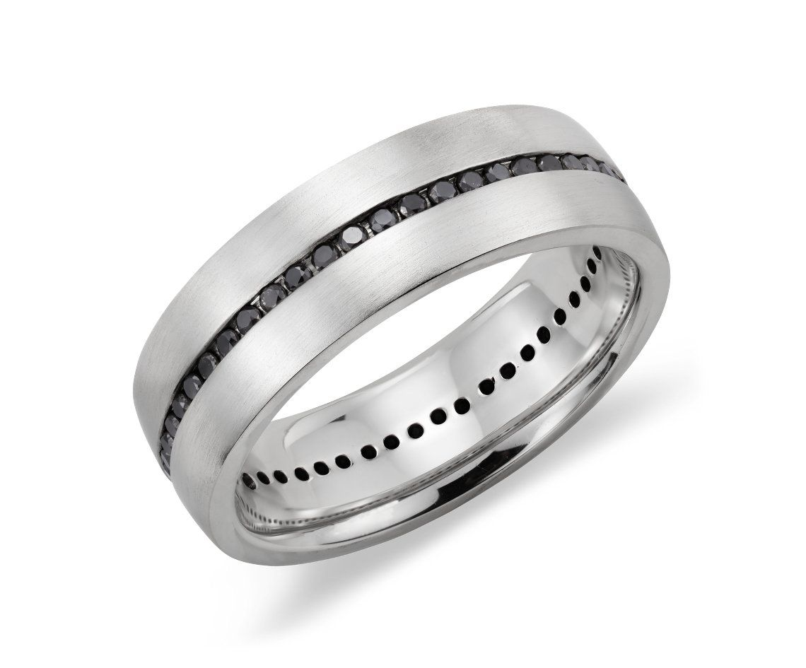 Channel Set Black Diamond Mens Wedding Ring In Sterling Silver With 14k White Gold BlueNile