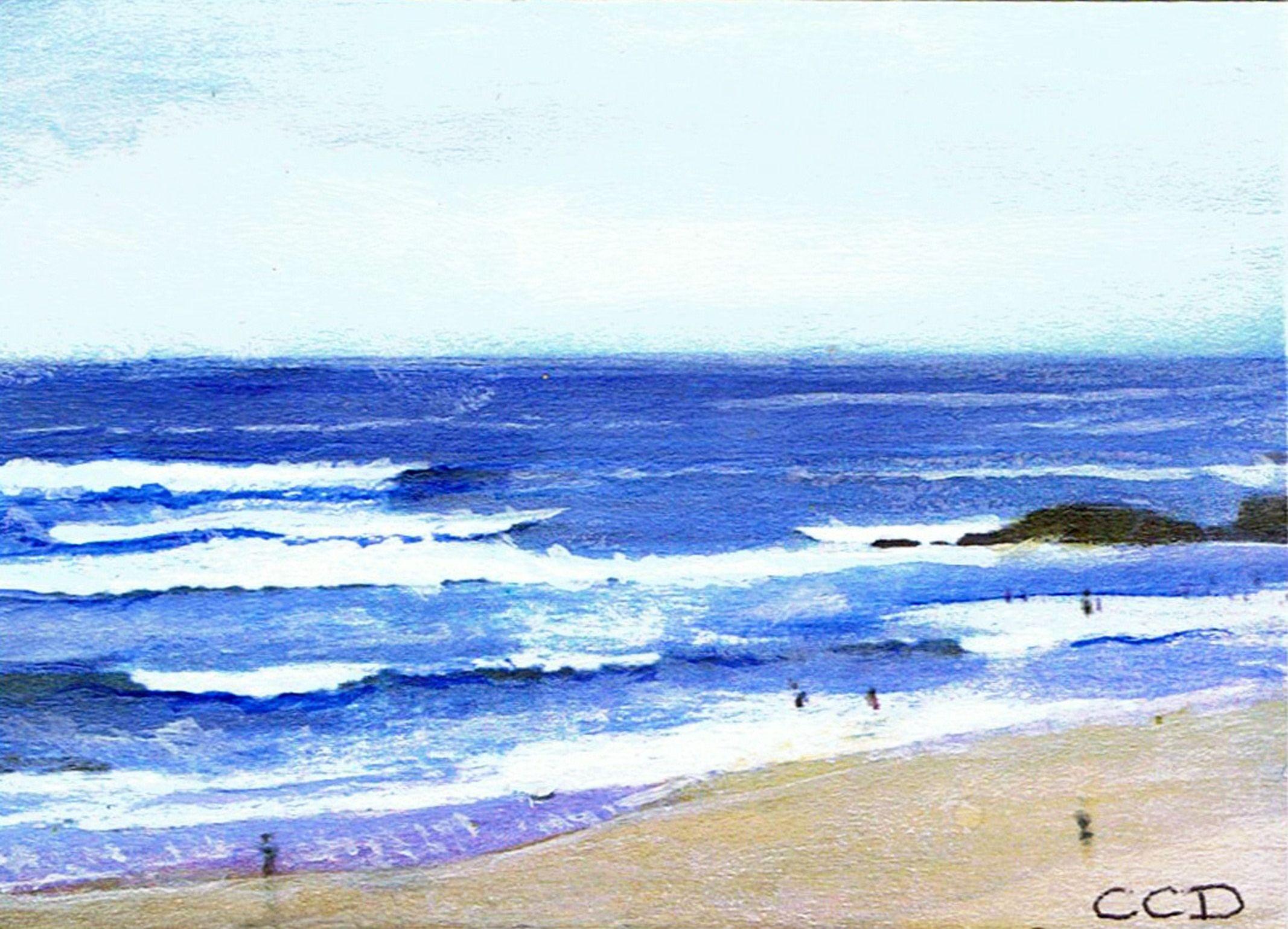 Aceo Acrylic Painting Seascape Ocean Beach Water Ref Sa108 Ebay