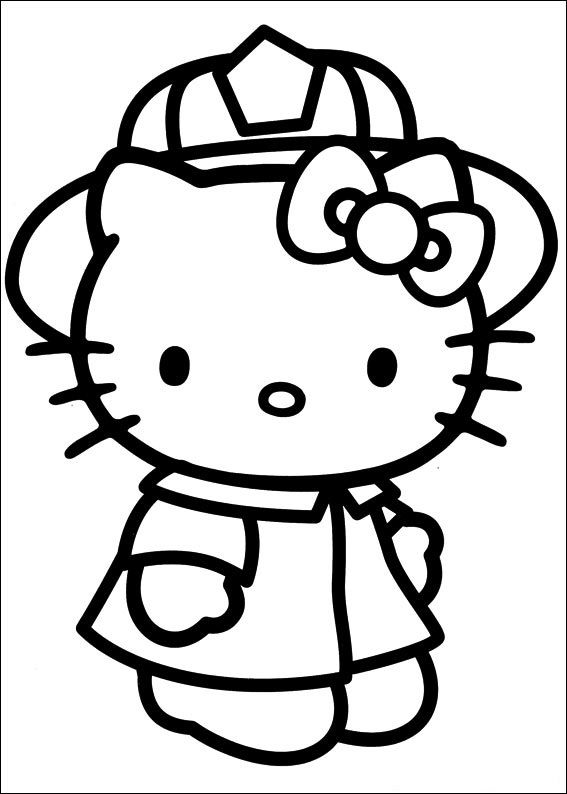 Fire Fighter Hello Kitty Colouring Pages Hello Kitty Coloring Hello Kitty Drawing