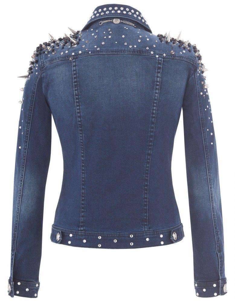 harald gl ckler damen jeansjacke denim blau mit nieten. Black Bedroom Furniture Sets. Home Design Ideas