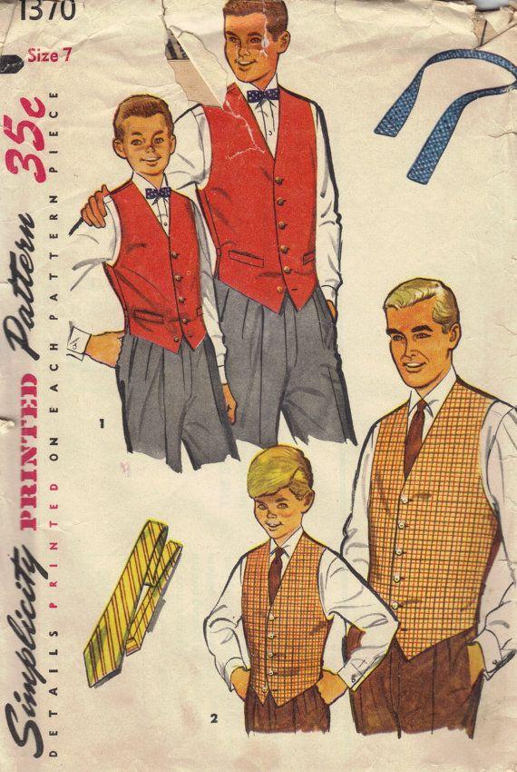 Simplicity 1950s Sewing Pattern Men Boys Vest Bow Tie Necktie Formal ...