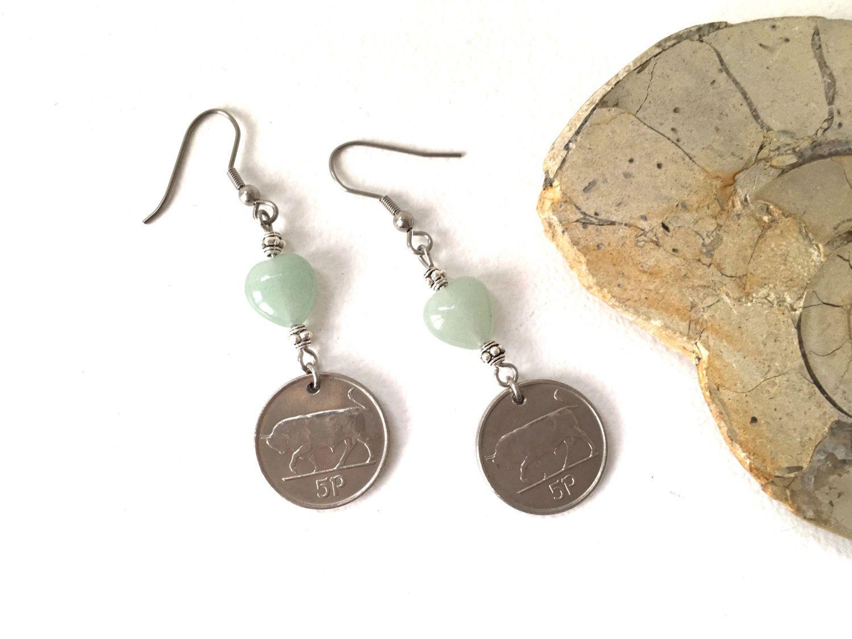 Irish coin earrings, 22nd, 23rd or 24th birthday gift
