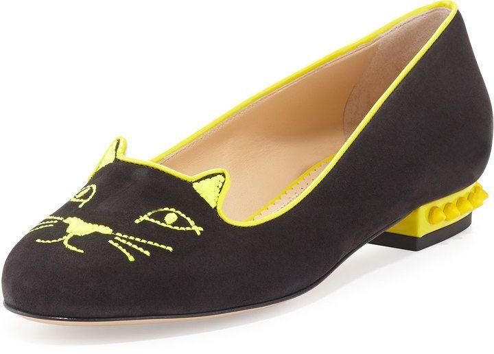 Charlotte Olympia Kitty Studs Cat-Embroidered Flat ca1f80f20