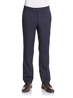 Saks Fifth Avenue Checkered Wool Straight-Leg Trousers - Navy - Size 2