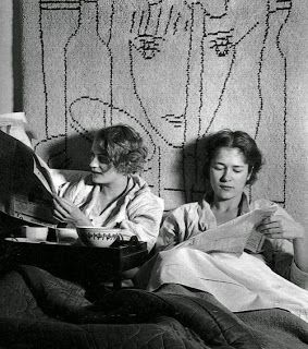 bove: Theodore Miller (1872-1971), Lee Miller and Tanja Ramm. This photo was taken by Lee Miller's father. Taken at Lee Miller's Paris studio, she was having breakfast in bed with her best friend from home, Poughkeepsie, NY. A wall hanging by Jean Cocteau is seen behind them. Lee Miller is best known for her war time photography, and for her relationship with Man Ray. She was also a fashion and portrait photographer. An article from the Guardian about her vibrant life is here.