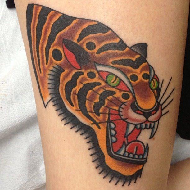 Traditional tiger tattoo art permanent pretty for American traditional tiger tattoo