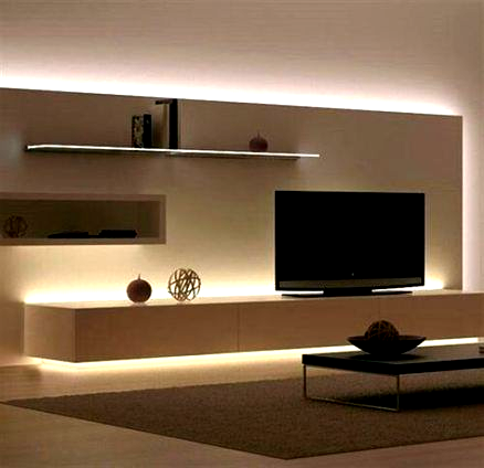 Led lights behind tv living rooms