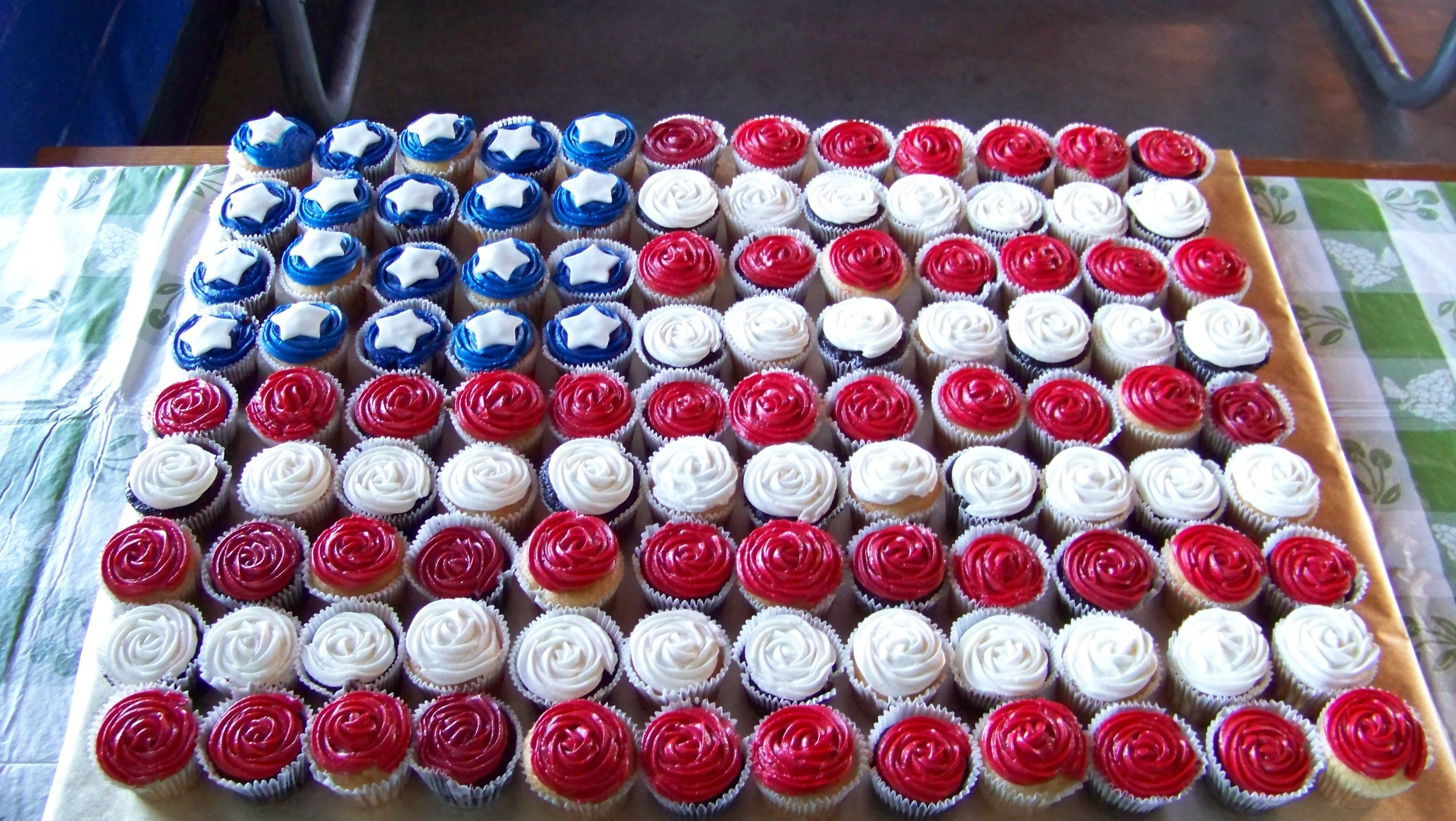 294ee667042 Flag Cupcakes - Cupcakes in the shape of the American Flag.Made for a  military man s retirement BBQ.Chocolate   vanilla cupcakes with vanilla  buttercream ...