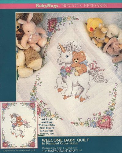 Welcome Baby Quilt Stamped Cross Stitch Kit Unicorn Teddy Bear ... : bear quilts for sale - Adamdwight.com