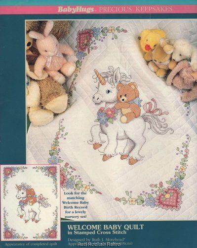 Welcome Baby Quilt Stamped Cross Stitch Kit Unicorn Teddy Bear ... : stamped cross stitch baby quilt kits - Adamdwight.com