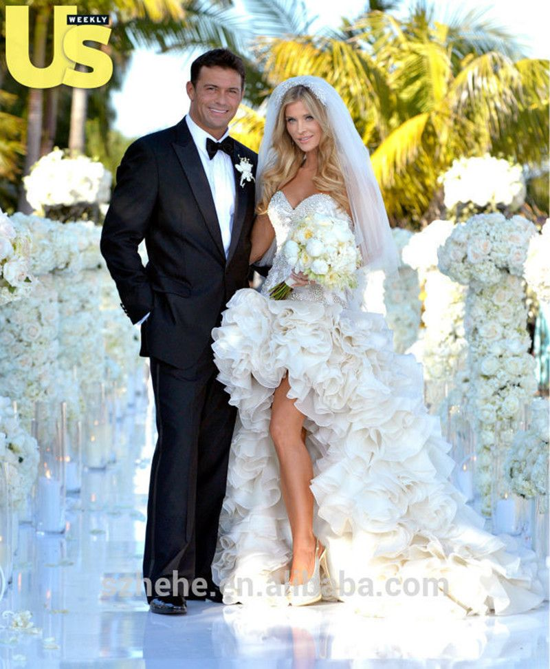 MZY420 Sexy High Low Ivory Beaded Ruffles Organza Short Front Long Back Trail Strapless Wedding