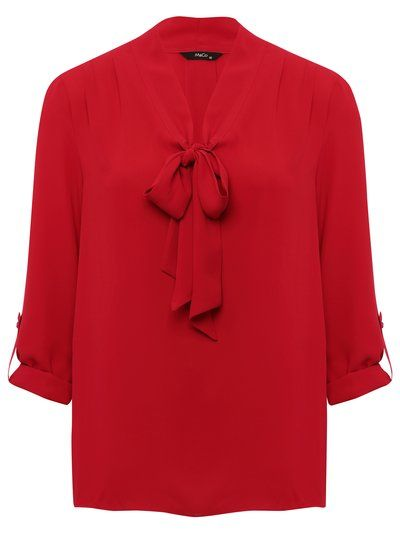 Three Quarter Sleeve Bow Blouse