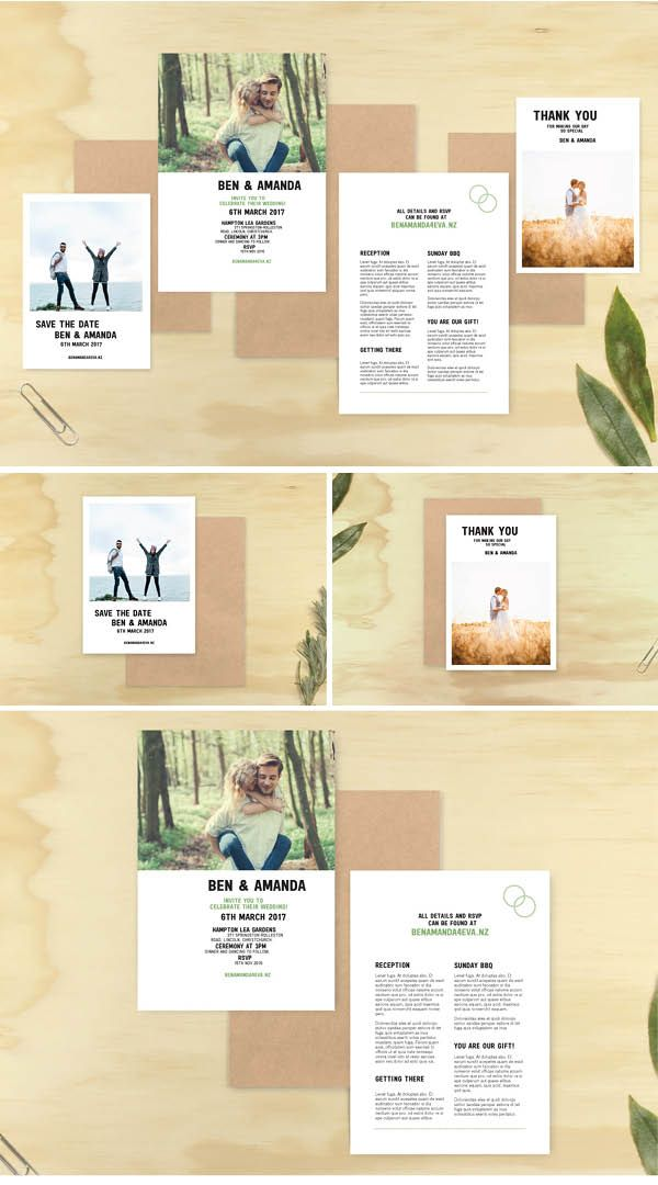 Photographic Wedding Invitation Set - Marie Ockleford Designs - photo white minimal hipster simple unisex invite kit