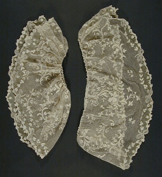 Pair of Engageantes France, circa 1765-1775 Costumes; Accessories Linen point d'Argentan needle lace a) left: 7 3/4 x 37 in. (19.69 x 93.98 cm); b) right: 7 3/4 x 36 in. (19.69 x 91.44 cm) Costume Council Fund (M.66.72a-b)