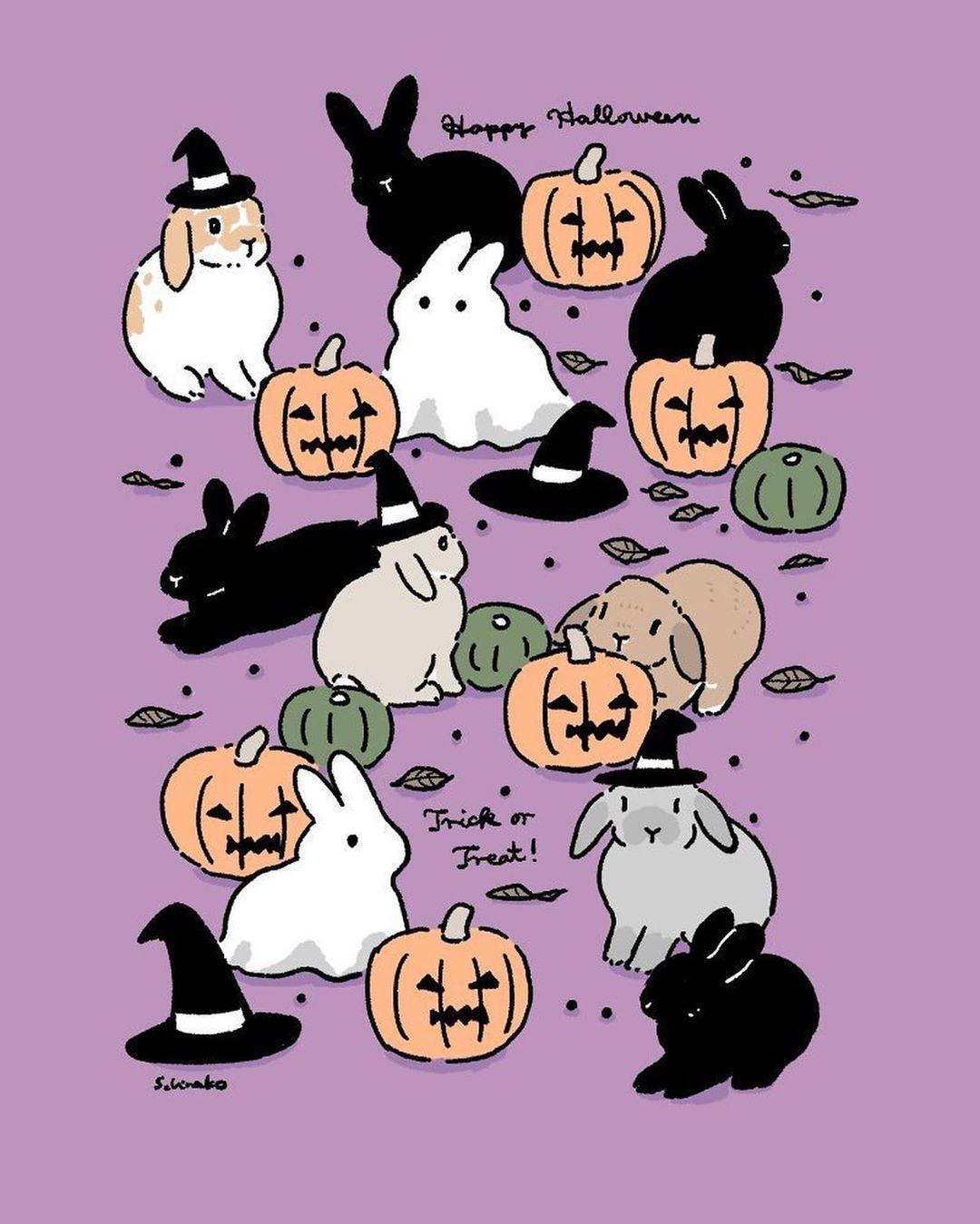 """森山標子/Schinako on Instagram: """"Day 21 #Halloween rabbits #ハロウィン のうさぎさんたち #inktober #Inktober2019 * #illustration#art#drawing#design#acrylicpaint#アクリル絵の具#rabbit#bunny#うさぎ"""""""
