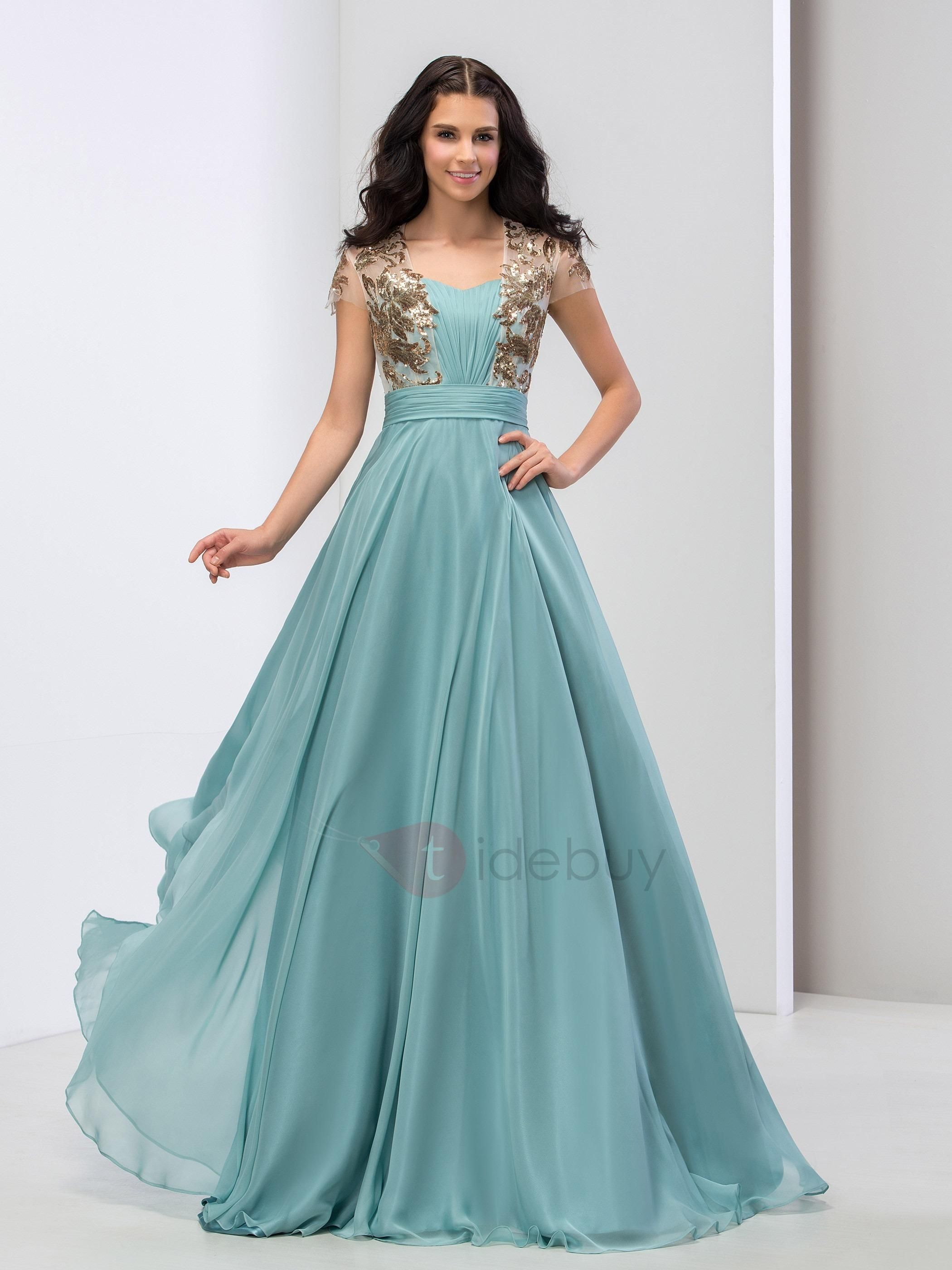 Elegant sweetheart sequined appliques pleats short sleeves long prom