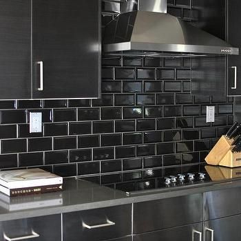 Stainless Steel Kitchen Cabinets with Black Subway Tile Backsplash, Contemporary, Kitchen