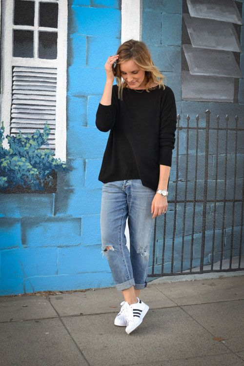 Black top, boyfriend jeans + Adidas Superstar | @styleminimalism