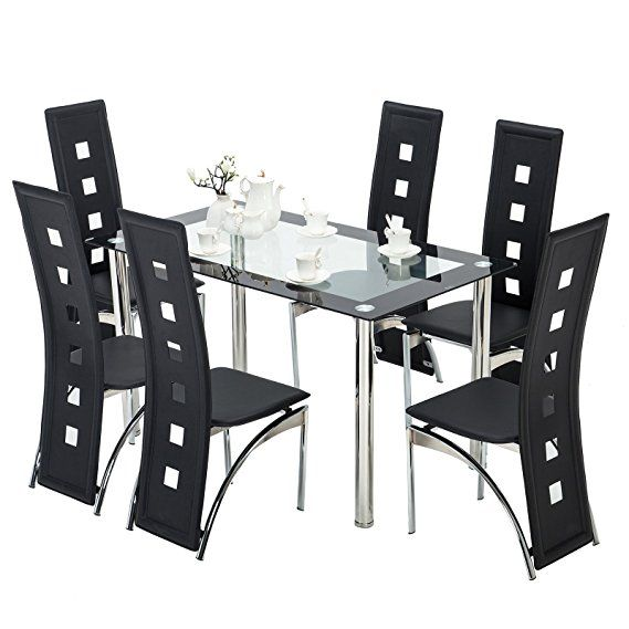 Mecor Glass Dining Table Set, 7 Piece Kitchen Table Set with 6