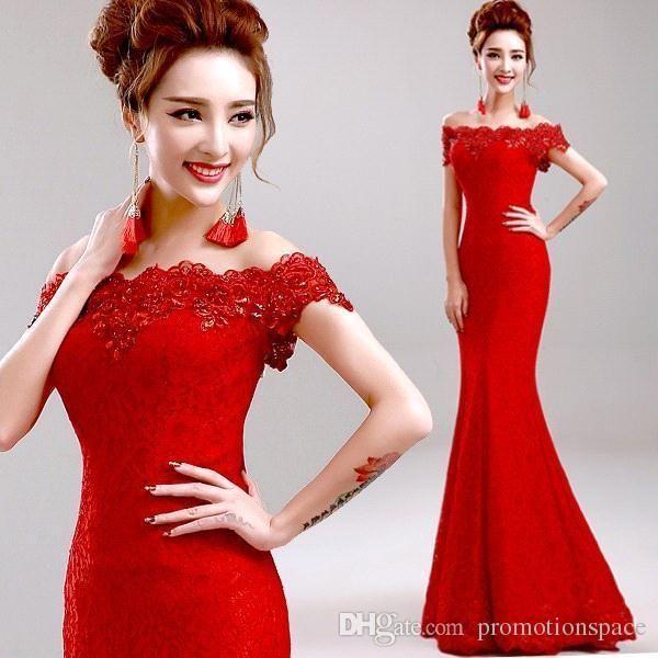 Big Promotion!2016Cheap Elegant Mermaid Red Long Evening Dresses Off ...
