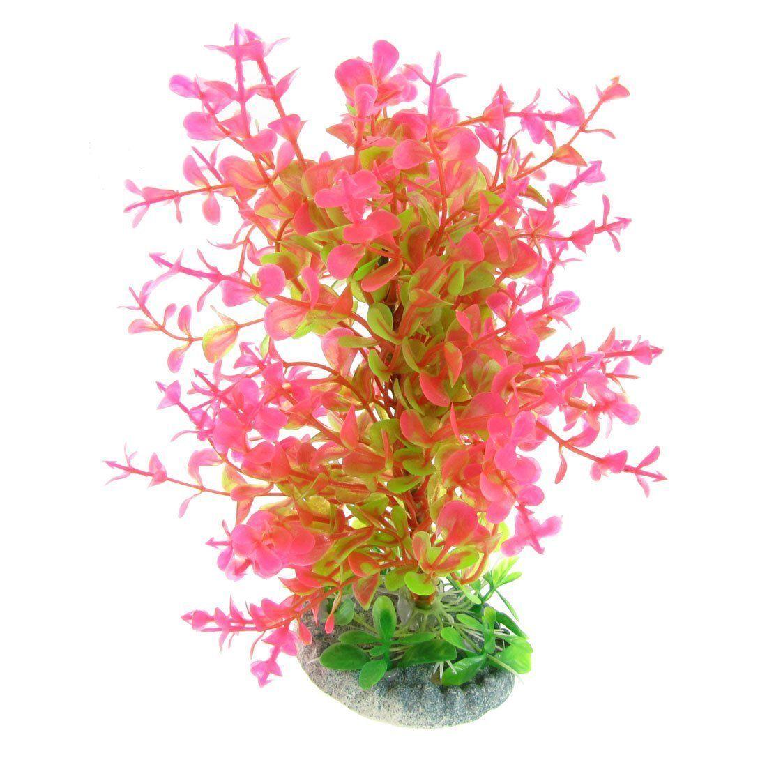 Jbj aquarium fish tank siphon gravel vacuum cleaner - Aquarium Fish Tank Green Magenta 7 High Plastic Plant Decoration Ad