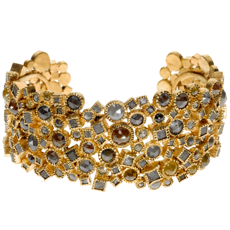 Todd Reed Raw Elegance Bracelet 18k Gold Set With Rose Cut Diamonds And Diamond Cubes