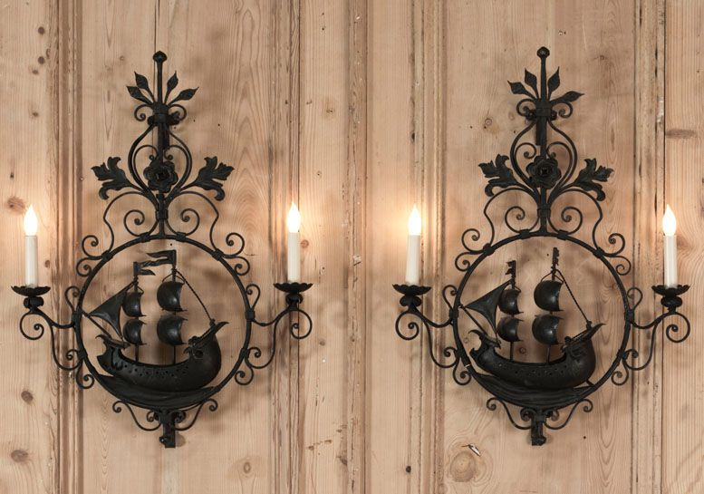 4 Light Wall Sconce | Iron wall, Wrought iron and Wall sconces