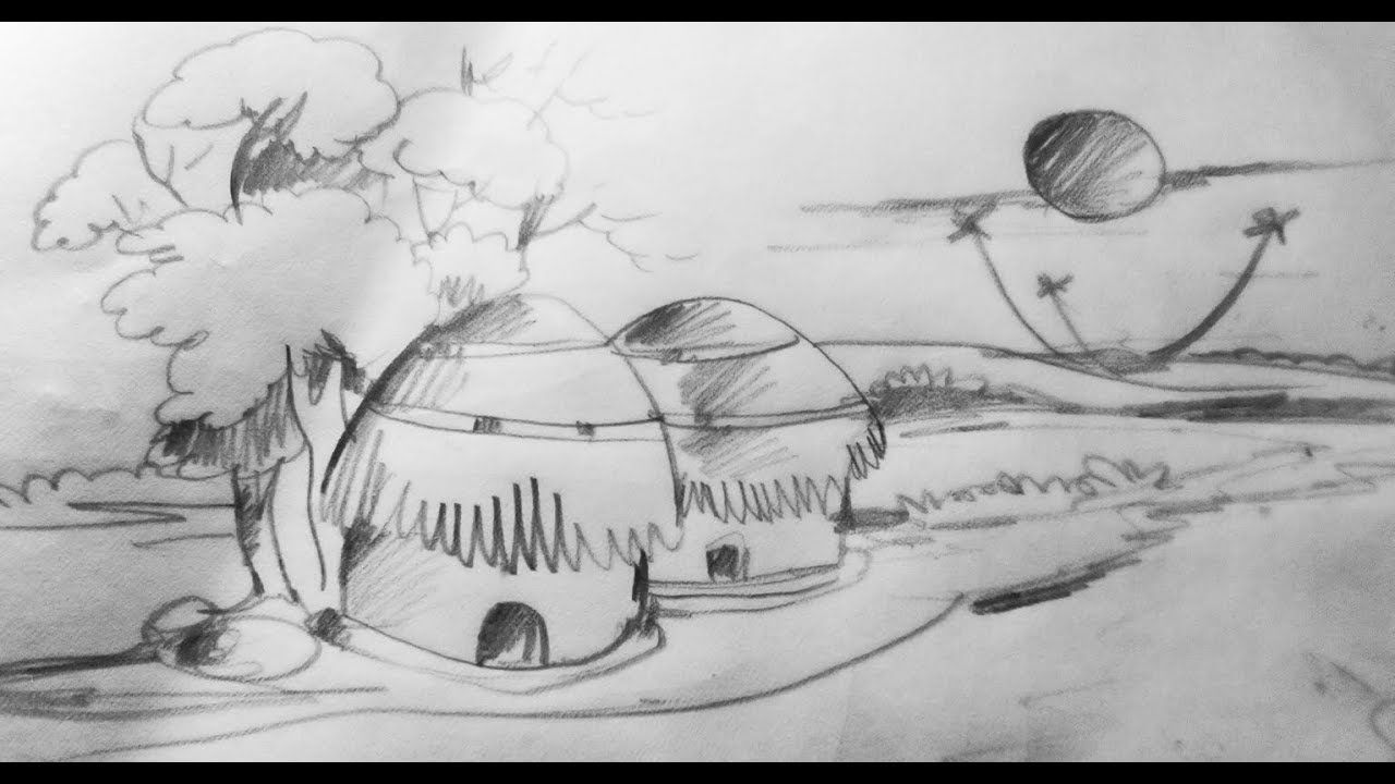 How to draw a village scenery step by step very easy drawing drawing