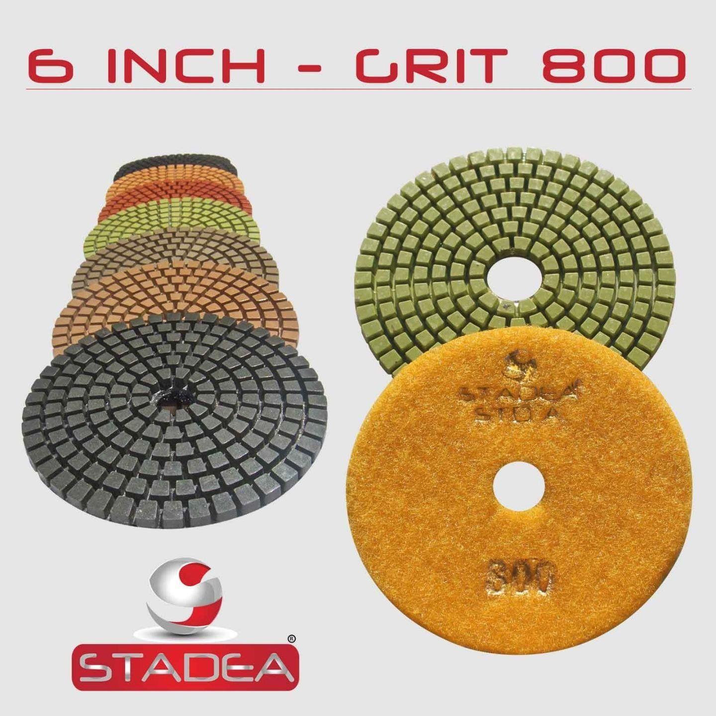 "STADEA Premium Grade Wet 4/"" Diamond Polishing Pads 8 Pcs Set For GRANITE MARBLE"