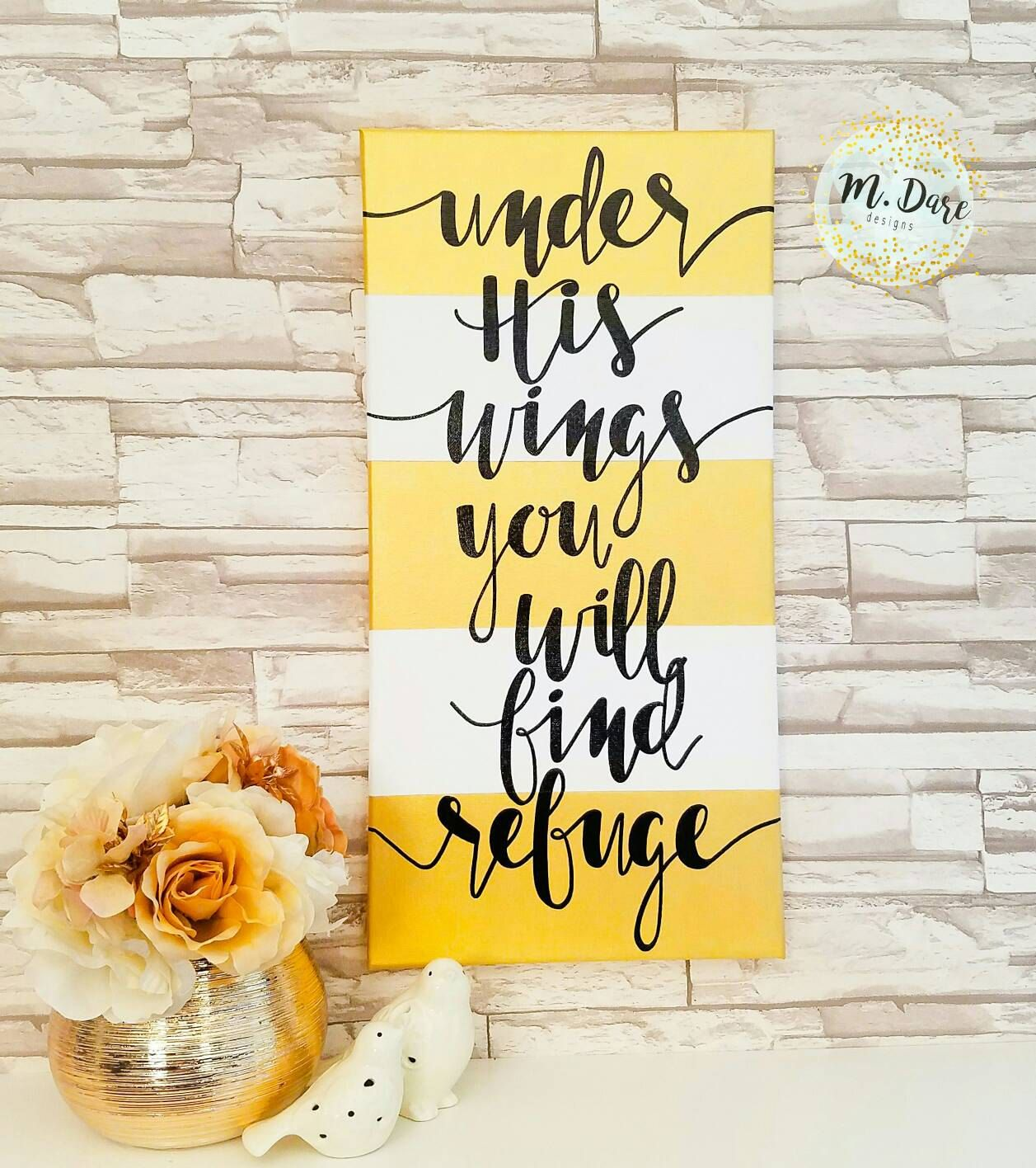 Under His Wings You Will Find Refuge Hand Painted Bible Verse Canvas ...
