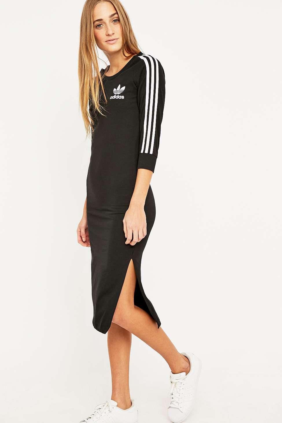 20436f5e07 adidas – Midikleid in Schwarz mit drei Streifen. adidas Three Stripe Black Midi  Dress Tenis Adidas ...