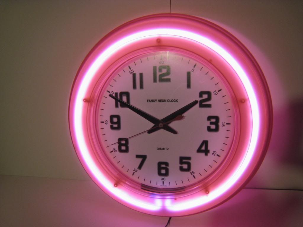 Wall Clocks With Neon Lights : Retro Pink DINER Wall NEON Fancy Clock 50s Modern NEW 50, Clock and Chic