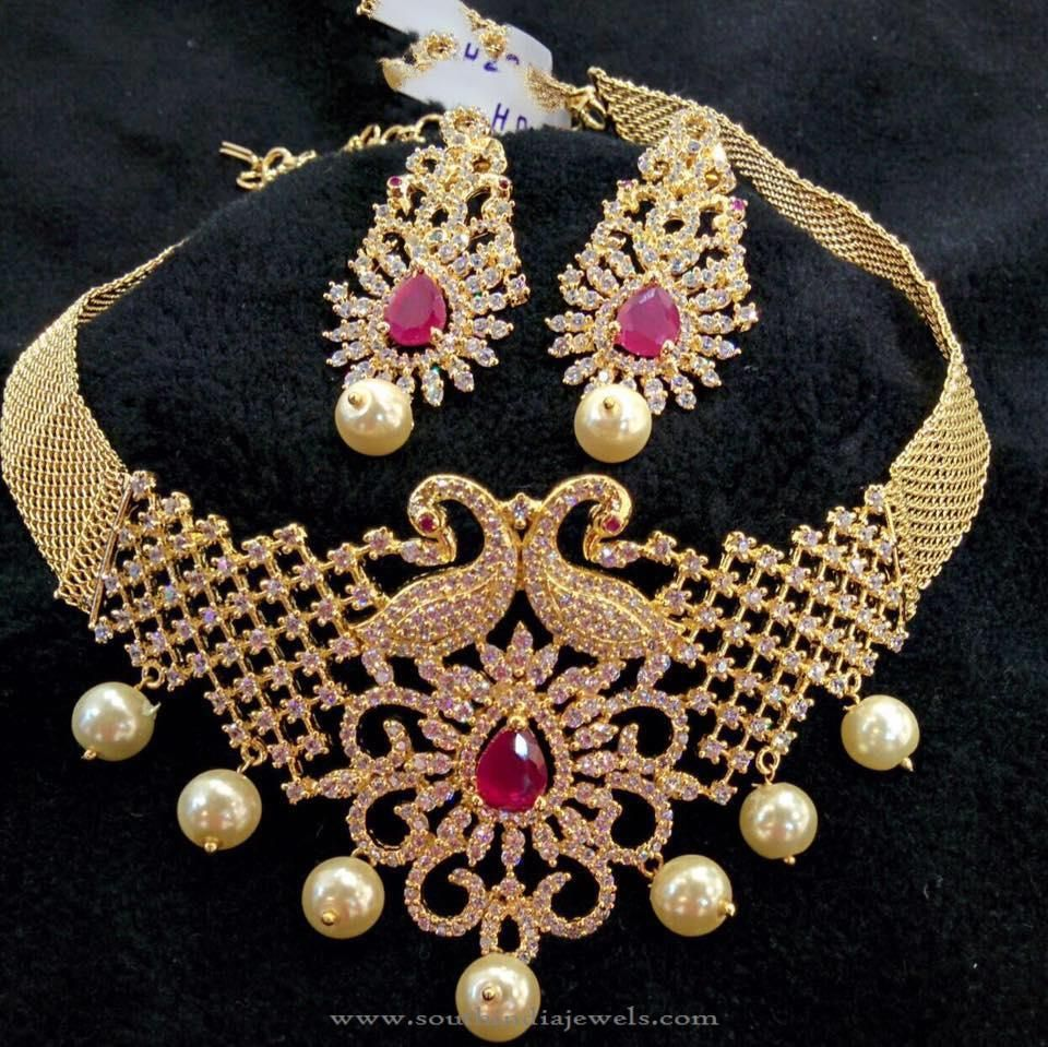 Indian Gold Jewellery Necklace Designs With Price: Gold Plated Choker With South Sea Pearls