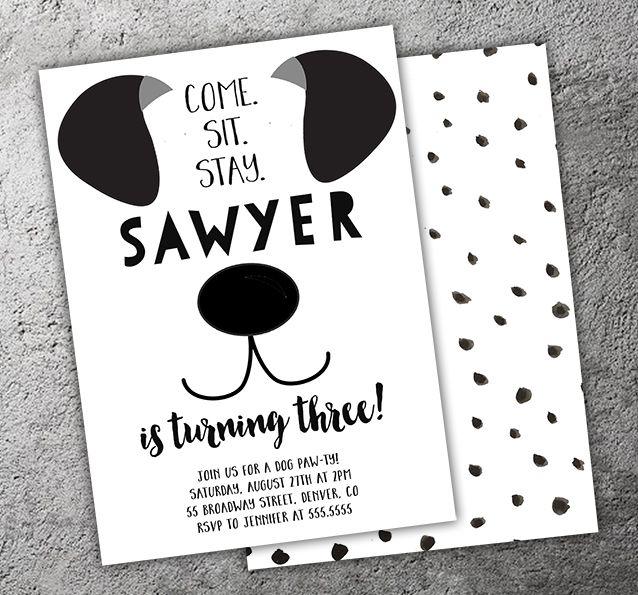 printable black and white puppy dog birthday invitation modern puppy paw ty kids - Dog Birthday Party Invitations