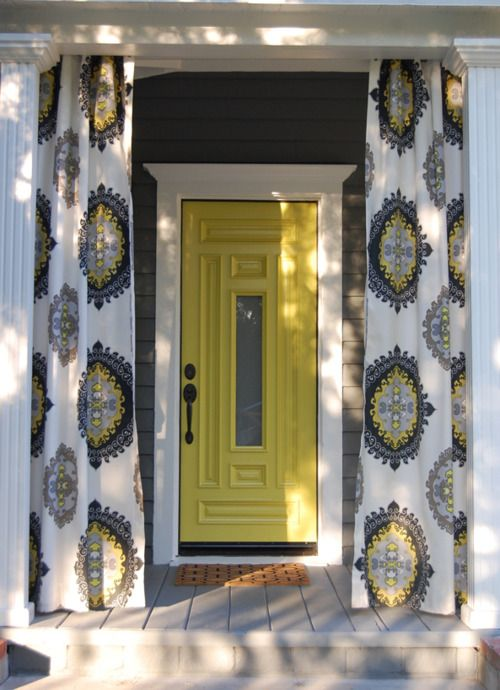 Wow   Curtains Hung On The Front Porch Along With A Brightly Colored Front  Door. Paint The Doors That Colour And Use Theat Patterned Curtain Panel And  A ...