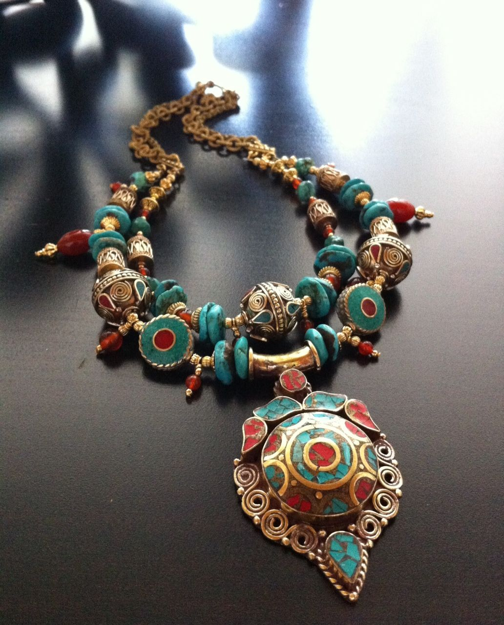 ROX Turquoise and Carnelian Inlay Tibetan Pendant with Inlay Brass Beads 7c3aff5d5f1c4
