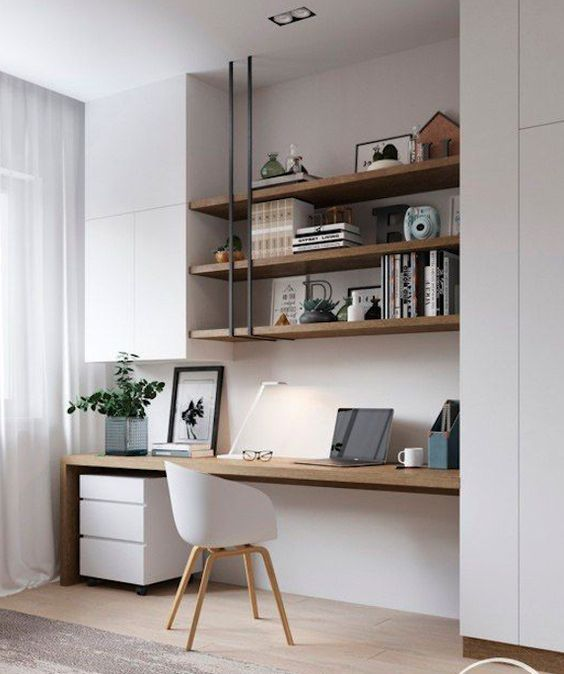 31 White Home Office Ideas To Make Your Life Easier Workspace Study Room Home Office Idea Home Office Organiz Office Interior Design Home Office Design Home