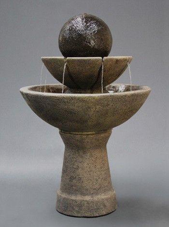2 Tier Zen Ball Garden Water Fountain   Tall