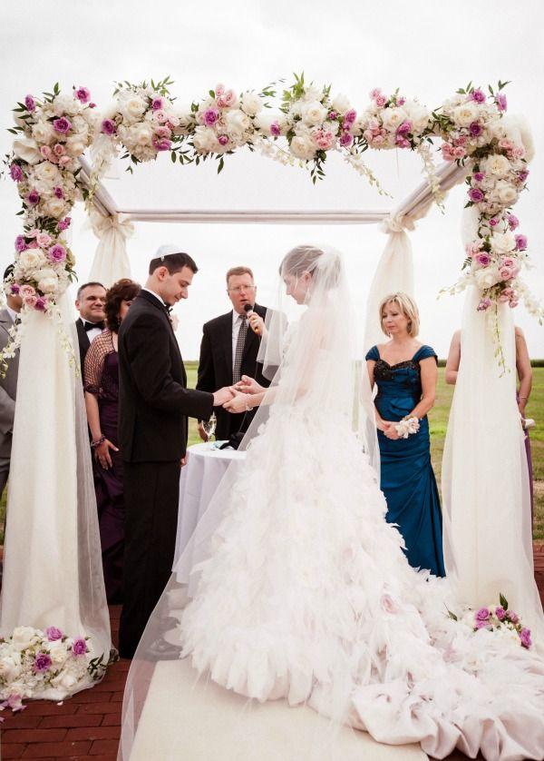 Soft, Romantic Jewish Wedding Chuppah with Cascading Flowers - mazelmoments.com