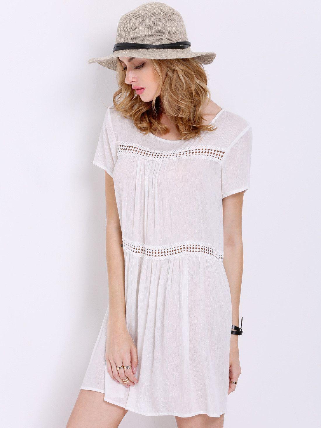 White Short Sleeve Shift Dress