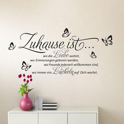 wandtattoo wandsticker wandaufkleber flur spruch zuhause liebe wohnzimmer w1133 spr che in. Black Bedroom Furniture Sets. Home Design Ideas