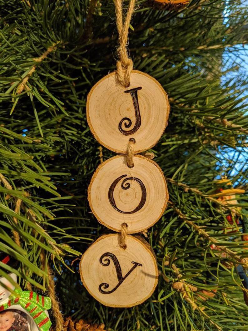 Wood Burned Joy Christmas Ornaments Etsy Christmas Wood Crafts Wood Christmas Ornaments Wooden Christmas Ornaments