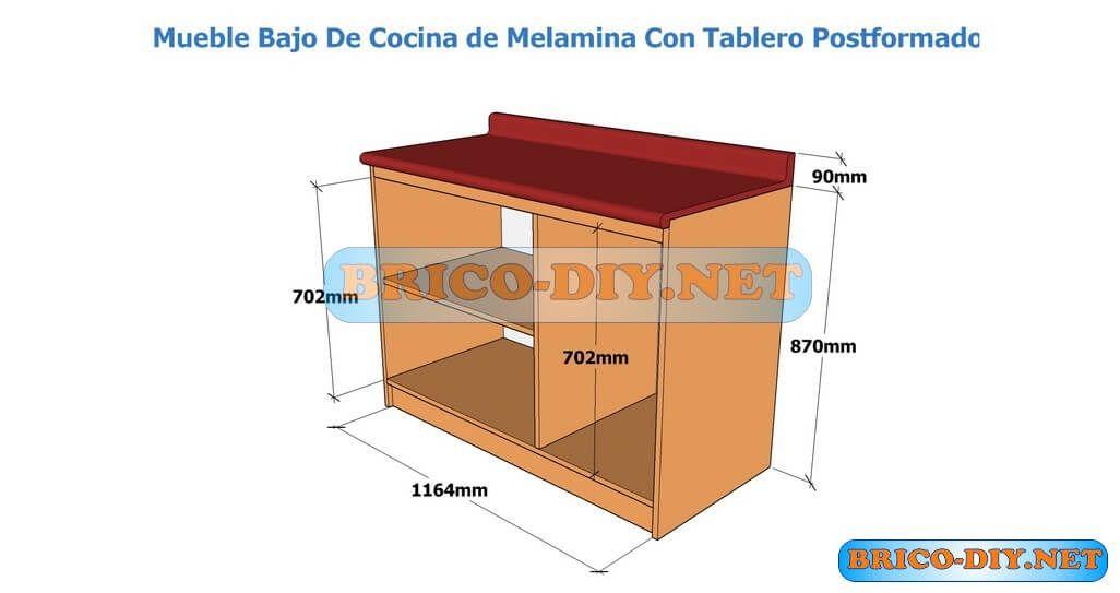 Plano con medidas para hacer muebles de cocina en melamina for Donde aprender hacer muebles melamina