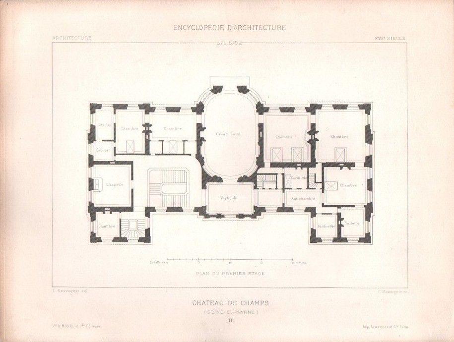 Chateau De Champs Sur Marne First Floor Plan Champs Sur Marne How To Plan Vintage House Plans