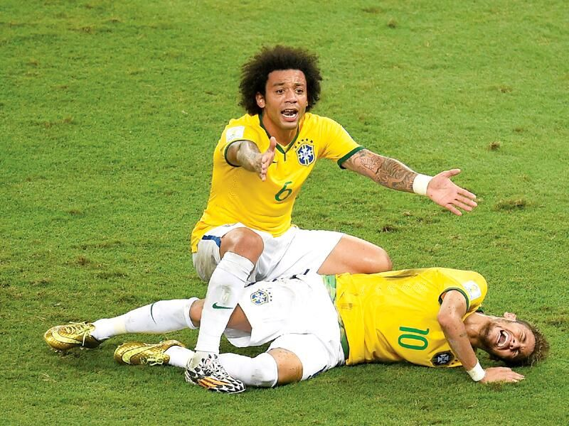 Marcelo And The Injured Neymar Neymar World Cup World Cup 2014