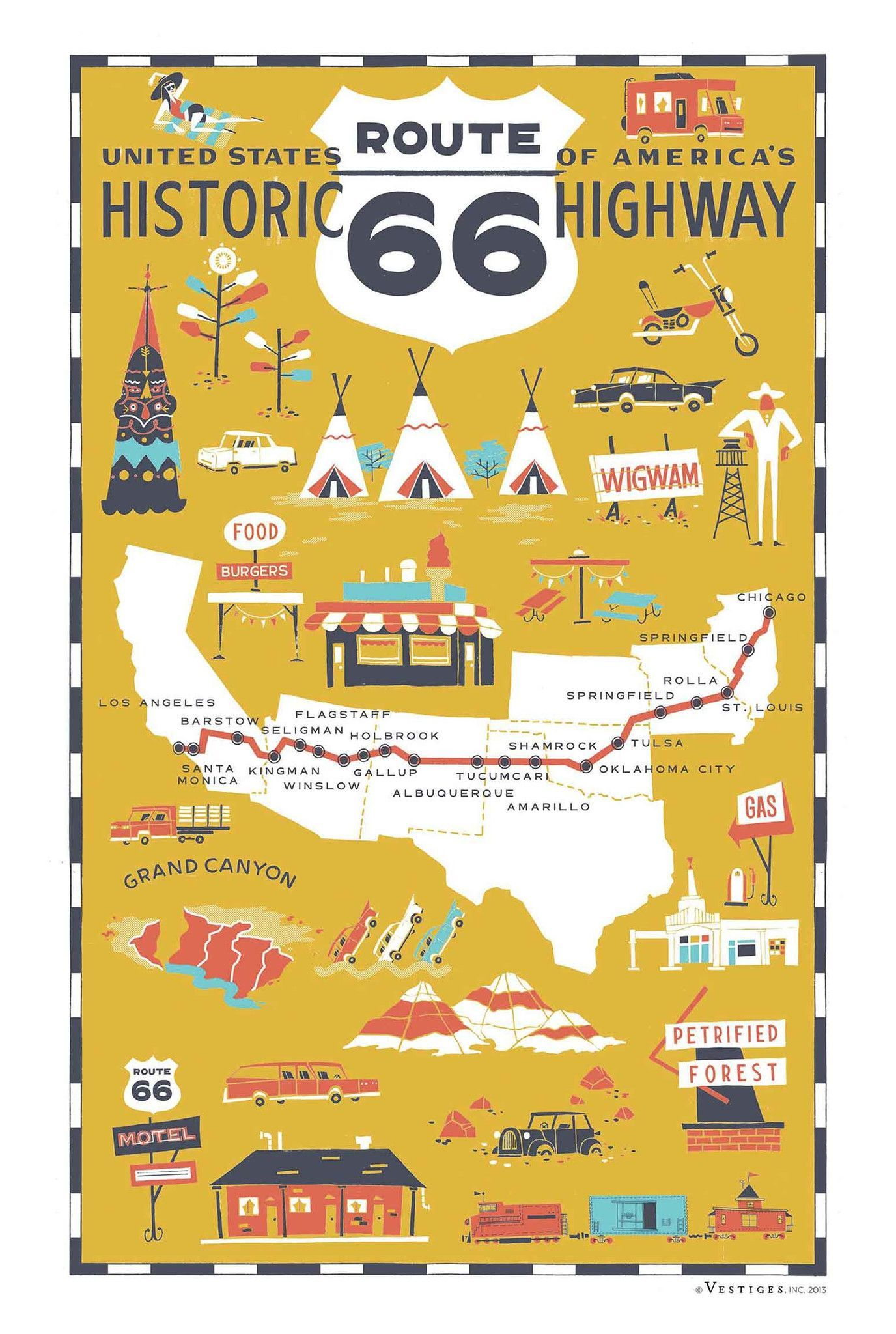 Route 66 Highway Kitchen Towel In